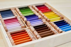 Montessori color box 3. Montessori color wood color gamut box for school royalty free stock image