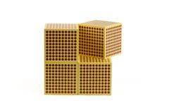 Montessori guld- pärlor - kub 1000 Arkivbild