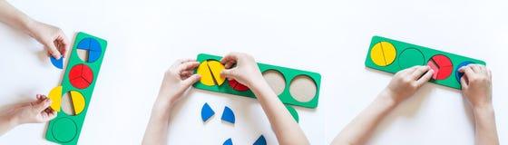 Montessori materia? dziecko r?ki s Całość i część frakcje Nauka mathematics sztandar obraz royalty free