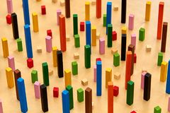 Wood Montessori material for math Cuisenaire rods. Montessori material for playing wile learning geometry and math stock images
