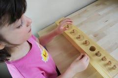 Montessori pussel. Förträning. arkivfoto