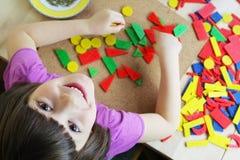 Montessori Puzzlespiel. Vorschule. Stockfoto