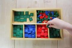 Montessori-Puzzlespiel. Vorschule. Stockfotografie