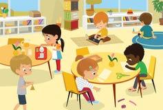 Montessori School Class. Vector illustrations of children in the playroom, boys and girls involved in Montessori
