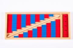 Montessori-Zahl Rod eingestellt Stockfoto