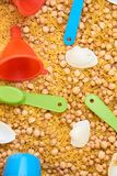 Montessory sensory texture experimentation in school. With chickpea and pasta Royalty Free Stock Photo