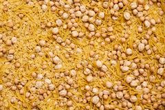 Montessory sensory texture experimentation in school. With chickpea and pasta Stock Images