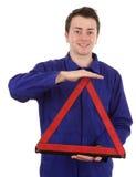 Monteur met driehoek Royalty-vrije Stock Afbeeldingen