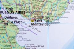 Montevideo auf Karte lizenzfreies stockfoto
