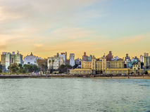 Montevideo Buildings in front of the Sea Royalty Free Stock Photo