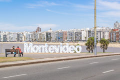 Montevideo Letters at Pocitos Beach Stock Image