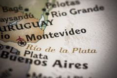 Montevideo on map. Closeup of Montevideo, Uruguay, on a world map Royalty Free Stock Image