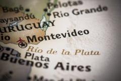 Montevideo na mapie Obraz Royalty Free