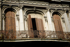 Montevideo old town. Charming balconies in Montevideo old town, Uruguay Royalty Free Stock Photo