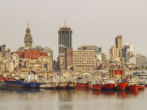 Montevideo Port. Panoramic view of Montevideo, harbor and shipyard Stock Photos