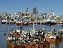 Montevideo Port. Panoramic view of Montevideo, harbor and shipyard Stock Photo