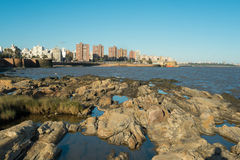 Montevideo. Rodky shore and the skyline of Montevideo in the background Stock Photos