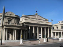 Montevideo Teatro Solis Uruguay. The facade of the historical Teatro Solis with its sunshine sign and columns in downtown Montevideo, Uruguay Royalty Free Stock Images