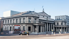 Montevideo Teatro Solis Uruguay. The facade of the historical Teatro Solis with its sunshine sign and columns in downtown Montevideo, Uruguay Stock Photos