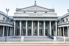 Montevideo Teatro Solis Uruguay. The facade of the historical Teatro Solis with its sunshine sign and columns in downtown Montevideo, Uruguay Royalty Free Stock Photos