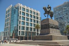 View of Independence Square. MONTEVIDEO, URUGUAY – APRIL 11, 2017: A view of Independence Square in the afternoon in Montevideo, Uruguay on April 7, 2017 Stock Photo