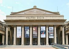 MONTEVIDEO, URUGUAY - January 4, 2017: Frontal view of the renowned Teatro Solis. Uruguay`s oldest theatre was built in 1857 and. Frontal view of the renowned stock photo