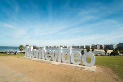 Montevideo. URUGUAY - JULY 26, 2015:  written in giant letters at the eastern city access Royalty Free Stock Images