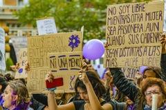 Women International Day March, Montevideo, Uruguay royalty free stock image
