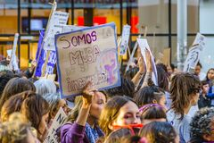 Women International Day March, Montevideo, Uruguay stock photos