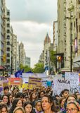 Women International Day March, Montevideo, Uruguay royalty free stock images