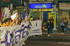 Women International Day March, Montevideo, Uruguay royalty free stock photography