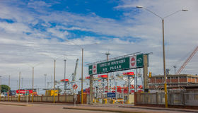 MONTEVIDEO, URUGUAY - MAY 04, 2016: entrance of montevideos port, it is located in rio de la plata and it is very Royalty Free Stock Images