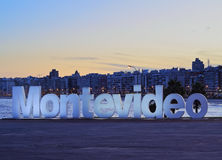Montevideo. Uruguay, Montevideo, Pocitos, Twilight view of the Montevideo Sign Royalty Free Stock Photos
