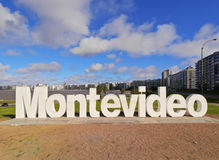Montevideo. Uruguay, Montevideo, Pocitos, View of the Montevideo Sign Royalty Free Stock Photos