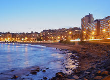 Montevideo. Uruguay, Montevideo, Twilight view of the Pocitos Coast on the River Plate Royalty Free Stock Image