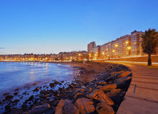 Montevideo. Uruguay, Montevideo, Twilight view of the Pocitos Coast on the River Plate Royalty Free Stock Photography