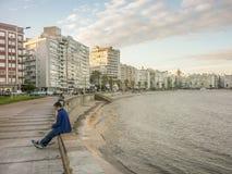 Montevideostrandpromenad Royaltyfri Foto