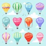 Montez en ballon l'air-ballon ou l'aérostat de bande dessinée de vecteur avec le vol de panier dans le ciel et l'illustration mon illustration libre de droits