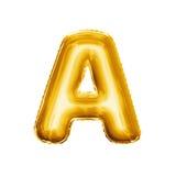 Montez en ballon l'alphabet réaliste d'aluminium d'or de la lettre A 3D Image stock