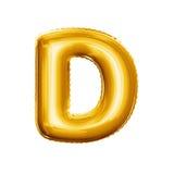 Montez en ballon l'alphabet réaliste d'aluminium d'or de la lettre D 3D Image stock