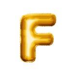 Montez en ballon l'alphabet réaliste d'aluminium d'or de la lettre F 3D Photos stock