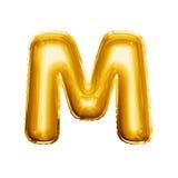 Montez en ballon l'alphabet réaliste d'aluminium d'or de la lettre M 3D Photos libres de droits