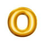 Montez en ballon l'alphabet réaliste d'aluminium d'or de la lettre O 3D Images stock