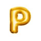 Montez en ballon l'alphabet réaliste d'aluminium d'or de la lettre P 3D Images stock