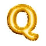 Montez en ballon l'alphabet réaliste d'aluminium d'or de la lettre Q 3D Photos stock