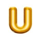 Montez en ballon l'alphabet réaliste d'aluminium d'or de la lettre U 3D Photo stock