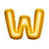 Montez en ballon l'alphabet réaliste d'aluminium d'or de la lettre W 3D Images libres de droits
