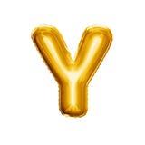 Montez en ballon l'alphabet réaliste d'aluminium d'or de la lettre Y 3D Photos stock