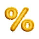 Montez en ballon l'alphabet réaliste d'aluminium d'or du symbole 3D de signe de pourcentage Photo libre de droits