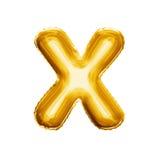 Montez en ballon l'alphabet réaliste de l'aluminium 3D d'or de la lettre X Photos stock